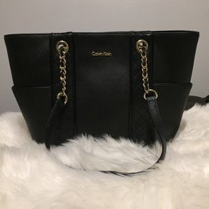 Calvin Klein Black Gold Chain Link Leather Tote